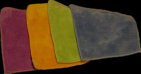 Vier Mikrofaser-Flausch-Tücher 26x20 cm