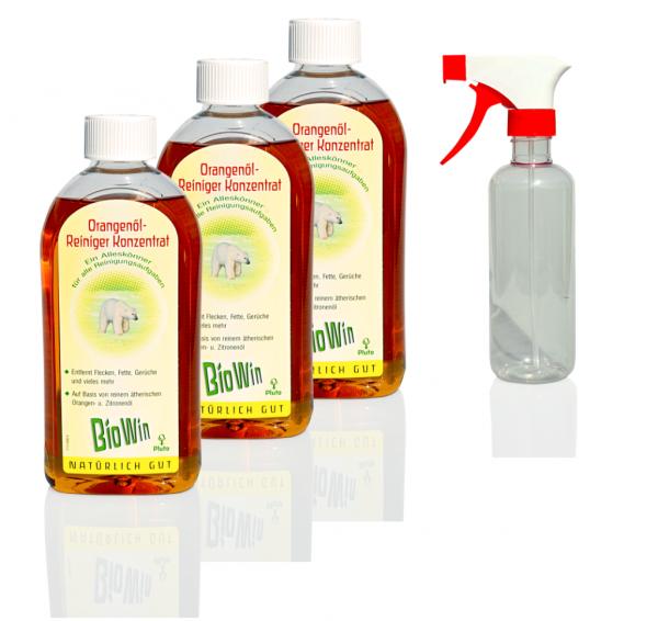 Drei Flaschen Orangenöl-Reiniger-Konzentrat + eine Sprühflasche