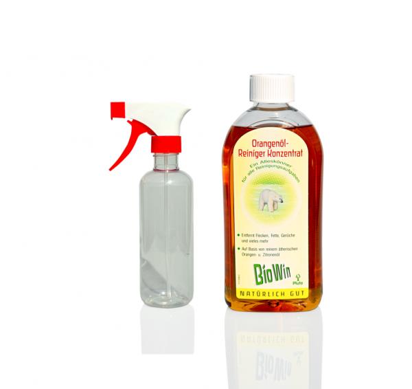 Eine Flasche Orangenöl-Reiniger-Konzentrat + eine Sprühflasche